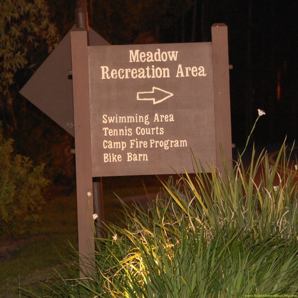 Sign to the Meadow Recreation Area at Disney's Fort Wilderness Resort and Campground.