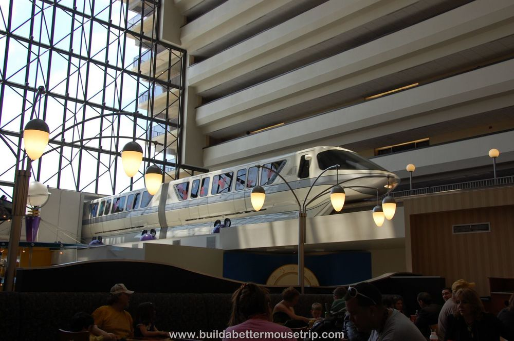 Disney's Contemporary Resort Photos & Information  - The monorail runs through the Grand Canyon Concourse, right over the Contempo Cafe