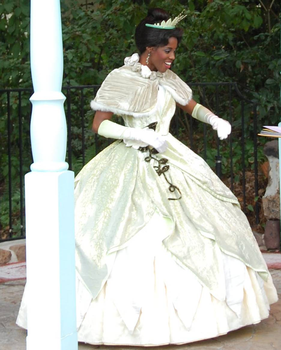 Princess Tiana from   The Princess and the Frog   greets guests, poses for photographs, and signs autographs in the Magic Kingdom at Disney World.