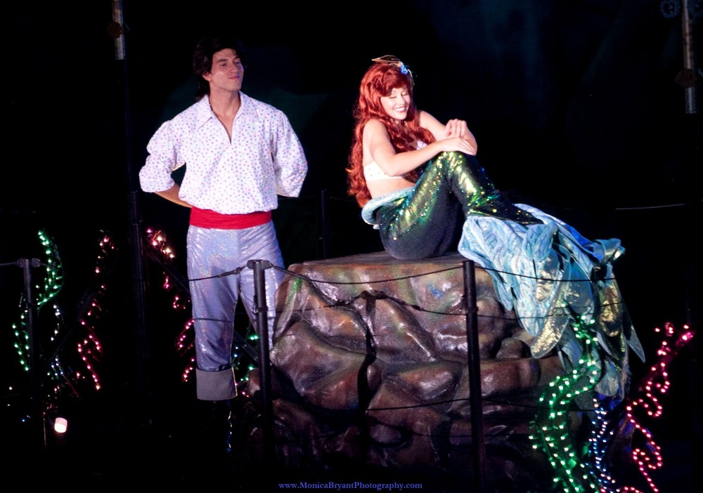 Ariel and Prince Eric (The Little Mermaid) in Fantasmic! at Disney's Hollywood Studios.
