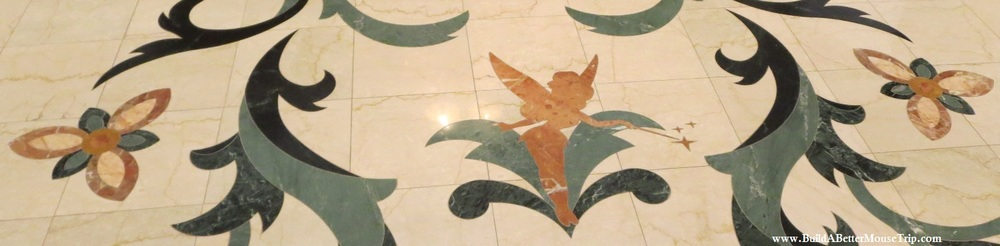 Find Tinker Bell in the floor the at Disney's Grand Floridian Resort at Disney World.