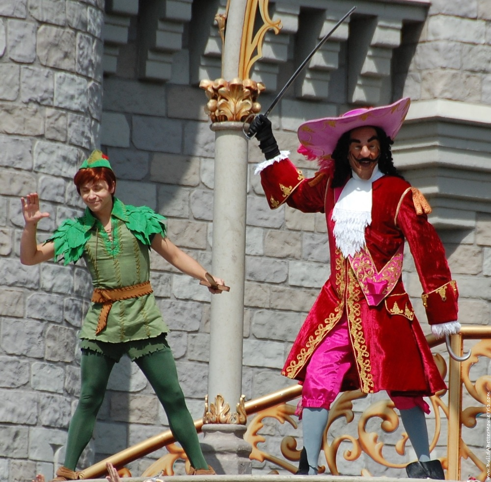 Peter Pan and Captain Hook in Dream Along with Mickey in the Magic Kingdom at Disney World.