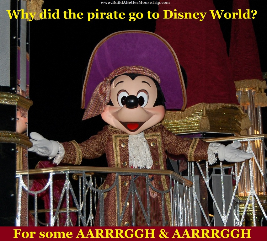 Mickey Mouse in a pirate costume at Walt Disney World Resort in Florida.