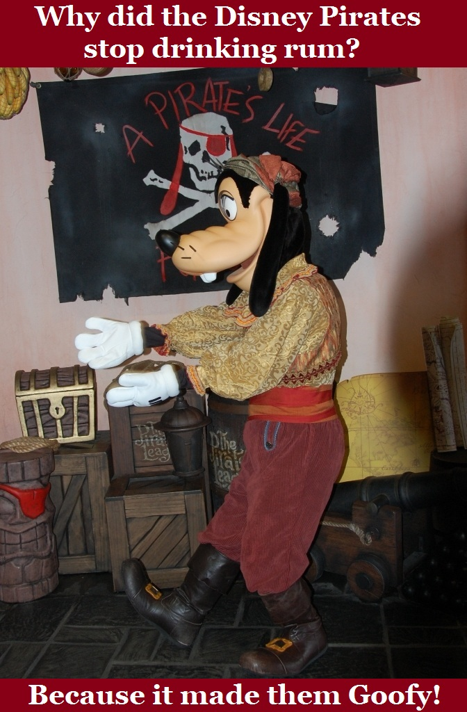 Goofy dressed in a pirate costume at Disneyworld