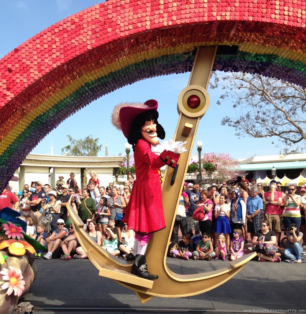 Captain Hook on the Peter Pan float in Disney's Festival of Fantasy Parade in the Magic Kingdom.