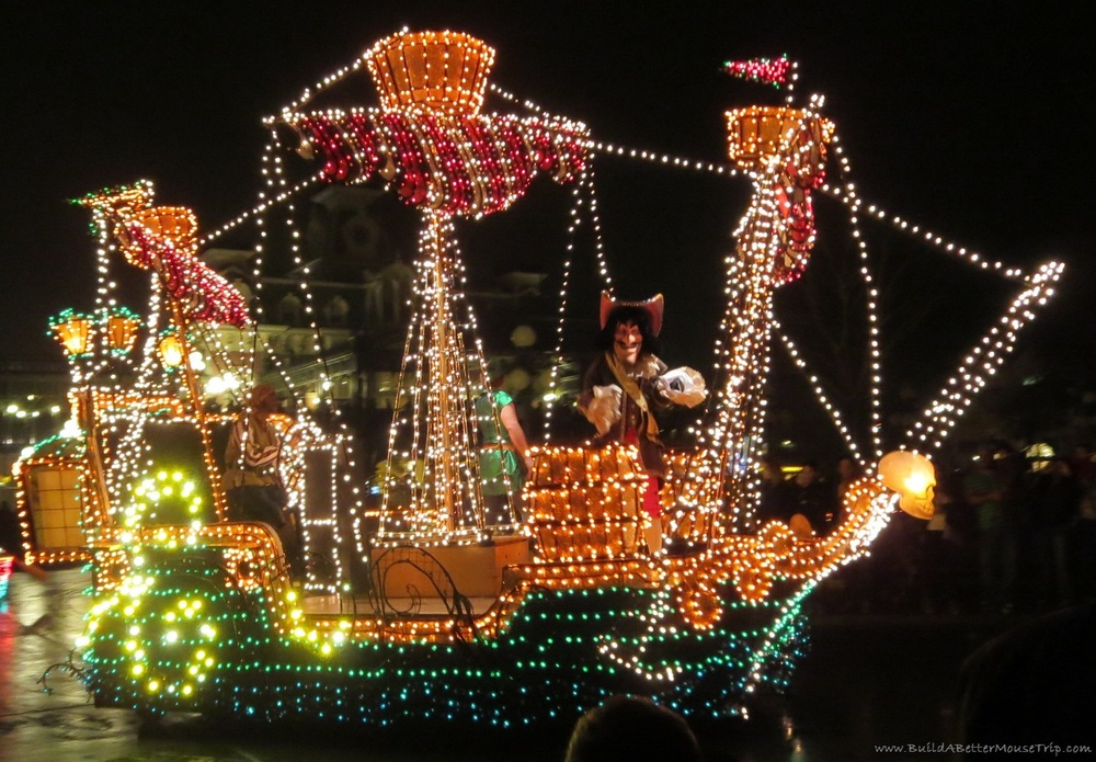 Disney's Main Street Electrical Parade Pirate Ship float with Peter Pan, Captain Hook, and Mr. Smee