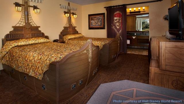 Finding Pirates at Disney World - Pirate themed room at Disney's Caribbean Beach Resort - Walt Disney World Resort