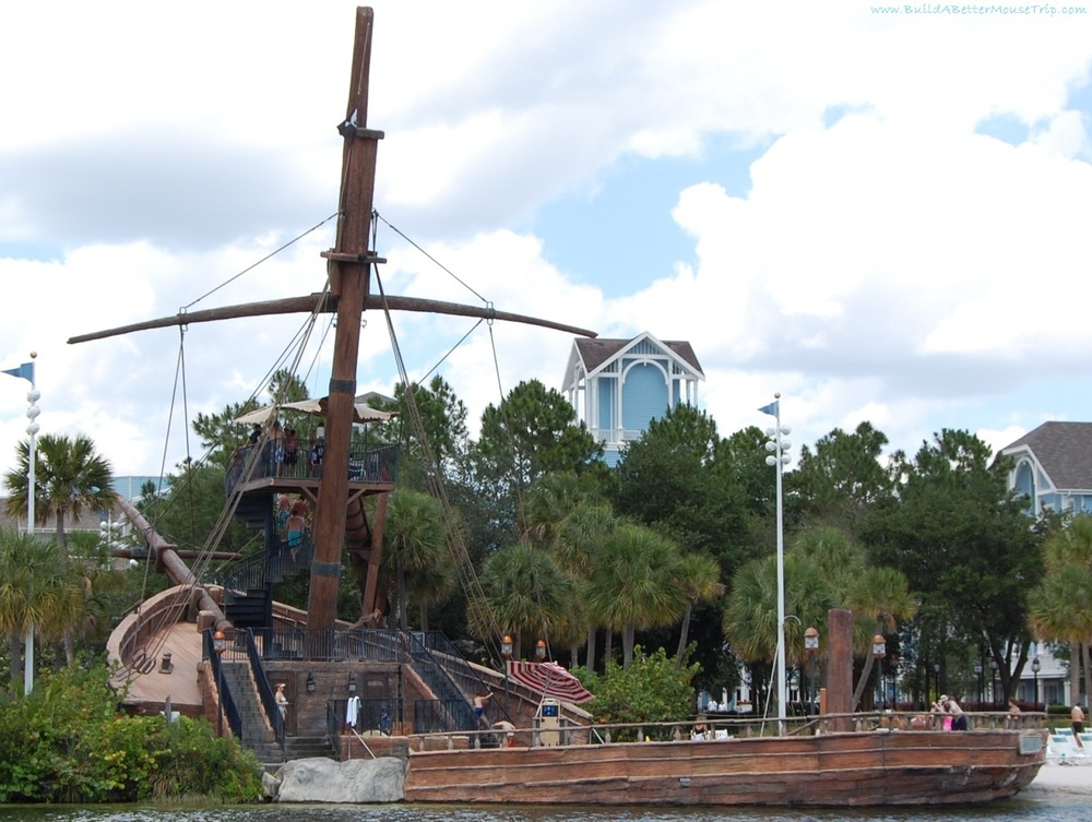 Disney's Beach Club Resort Pirate ship pool slide