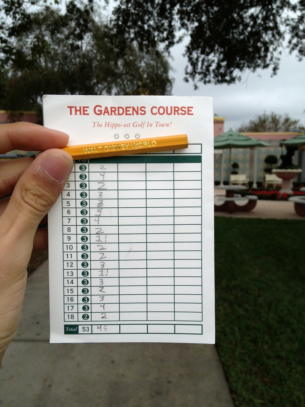 Miniature Golf score card at Disneyworld.