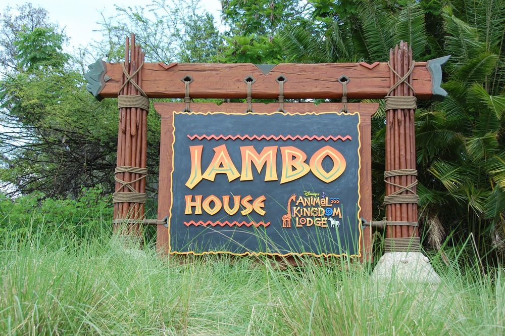 Disney's Animal Kingdom Lodge - Jambo House Sign. Jambo House is the main building at the resort with hotel rooms, 3 restaurants, savannas, and lobby.