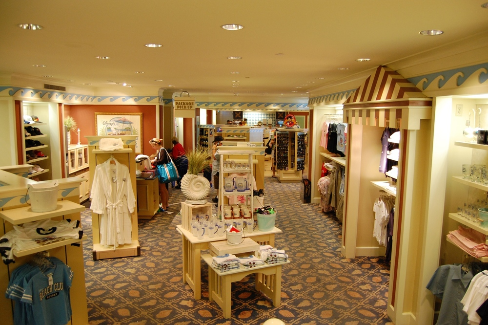 Beach Club Marketplace Gift Shop has clothes, gifts, and food.