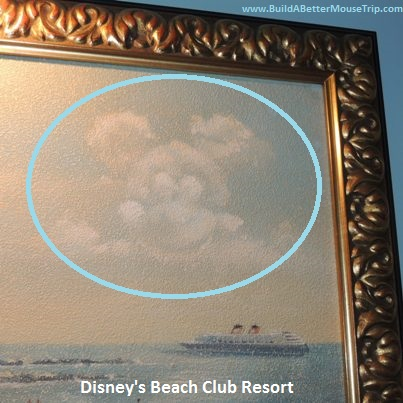 Hidden Mickey in the clouds on one of the portraits at Disney's Beach Club Resort - Disneyworld.