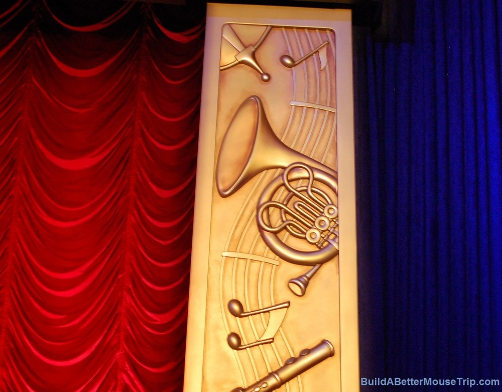 Hidden Mickey on the stage at Mickey's Philharmagic at the Magic Kingdom  / Disney World.