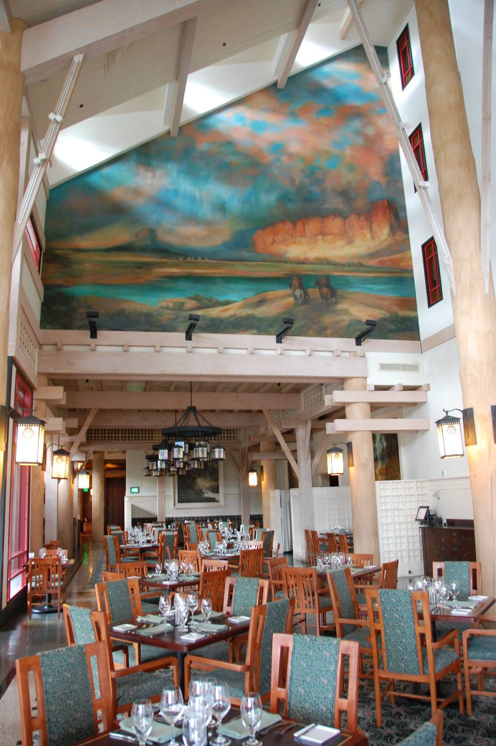 Inside Artists Point restaurant at Disney's Wilderness Lodge