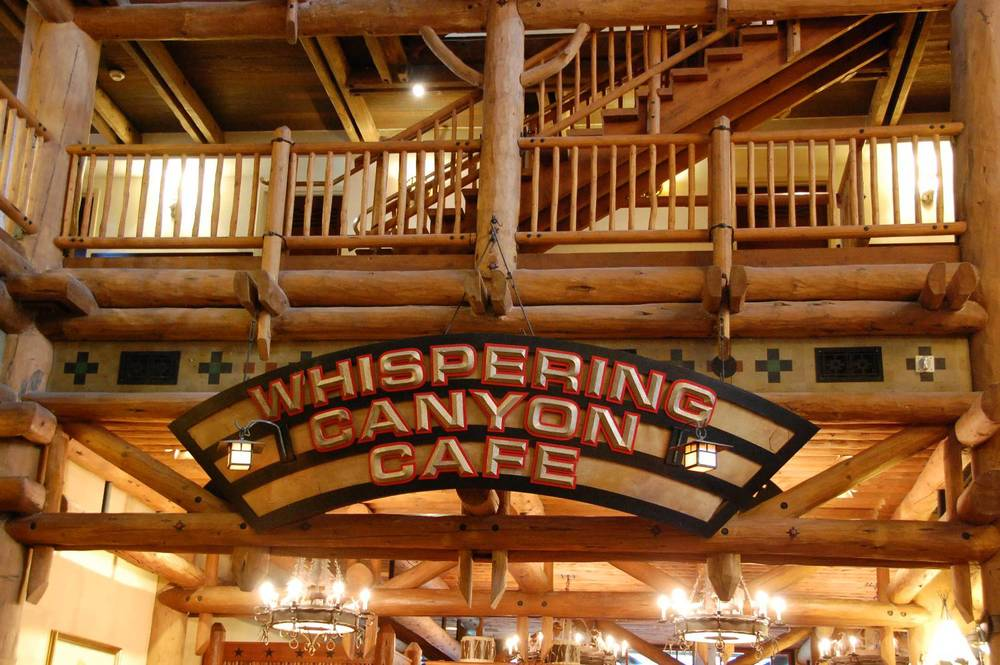 Whispering Canyon is a fun but noise restaurant serving breakfast, lunch, and dinner at Disney's Wilderness Lodge / Walt Disney World Resort.
