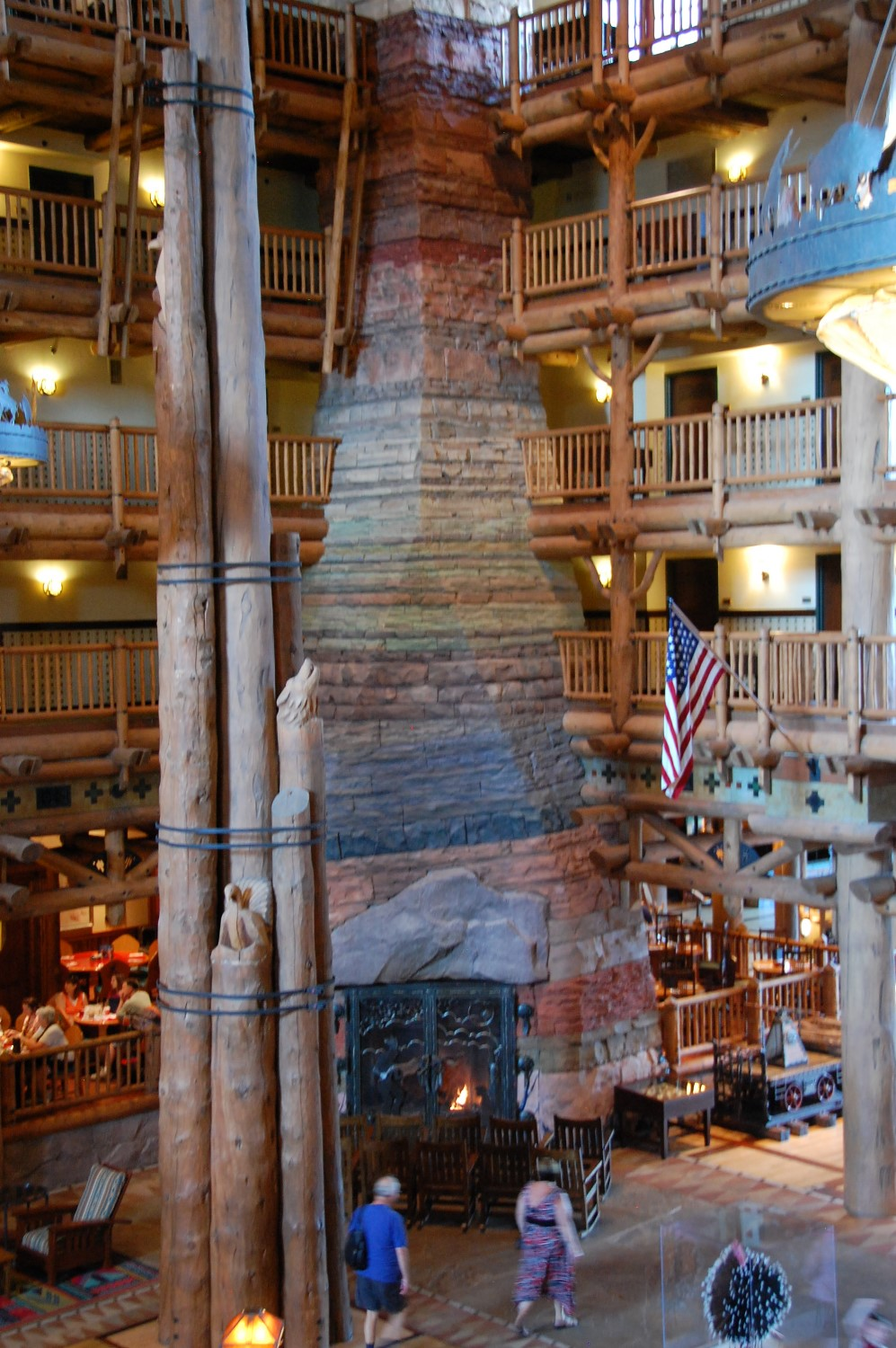 Grand Canyon Fireplace in the beatiful lobby of Disney's Wilderness Lodge.