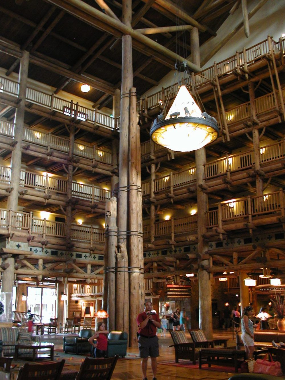 Log columns in the lobby of Disney's Wilderness Lodge at Disney World.