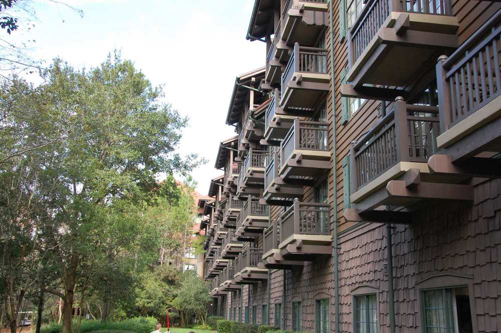 balconies on the rooms at Disney's Wilderness Lodge.