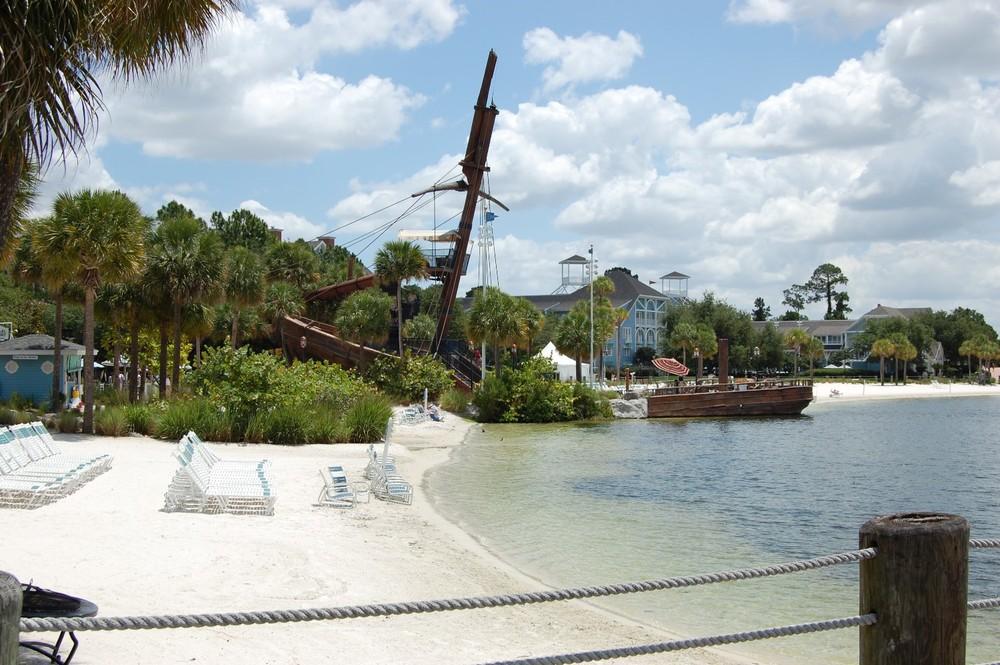 Albatross Pirate Ship and lakeside beach area at Disney's Yacht & Beach Club Resorts - Disney World.