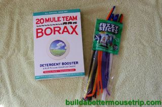 Supplies for making borax crystal ornaments.