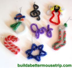 Christmas ornaments made with borax and pipe cleaners.
