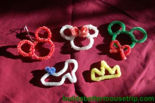 Homemade Disney Christmas Ornaments made with borax crystals - Mickey Mouse, Cinderella's slipper, and crown.