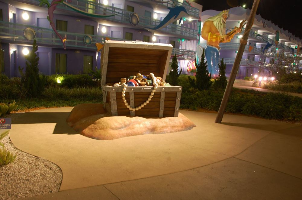 Art of Animation Little Mermaid Courtyard at night