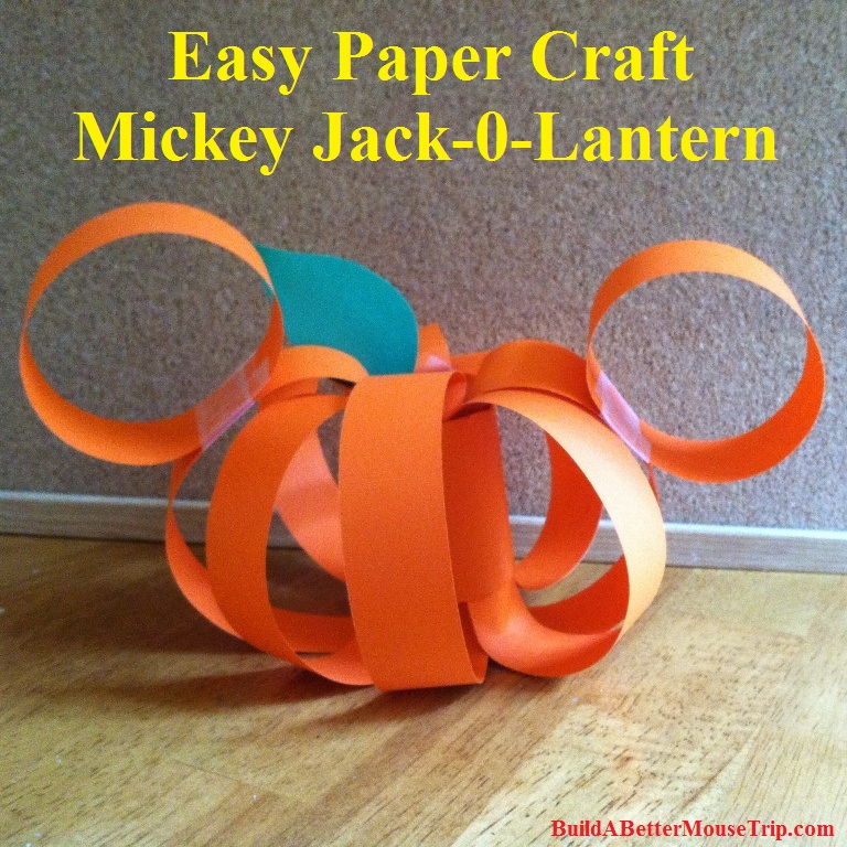 Easy Disney Craft for Halloween - Mickey Mouse paper pumpkin with full photo instructions.
