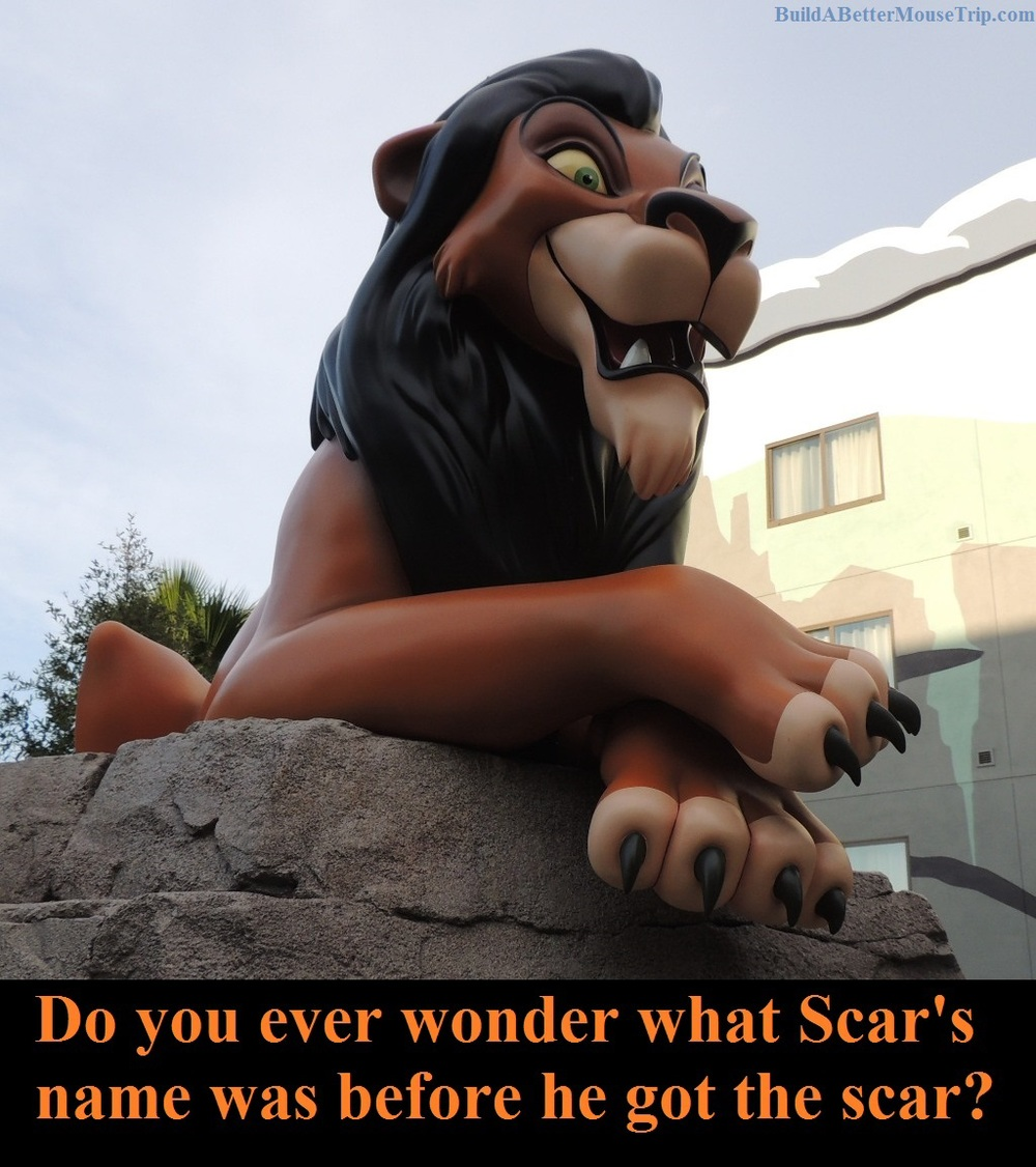 Scar statue at Disney's Art of Animation Resort hotel - Lion King courtyard.