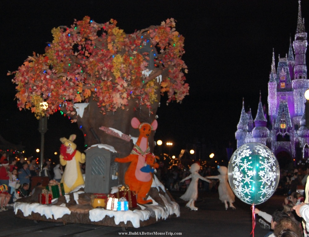 Winnie the Pooh float in Mickey's Christmastime Parade during Mickey's Very Merry Christmas Party, a seasonal event at the Magic Kingdom.   Walt Disney World Resort - Florida.