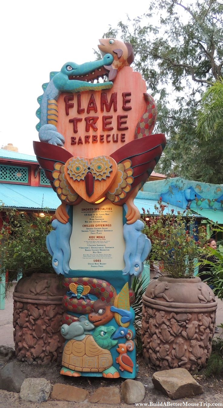 All about the predator/prey theme at Flame Tree Barbecue in the Animal Kingdom park at Disney World.