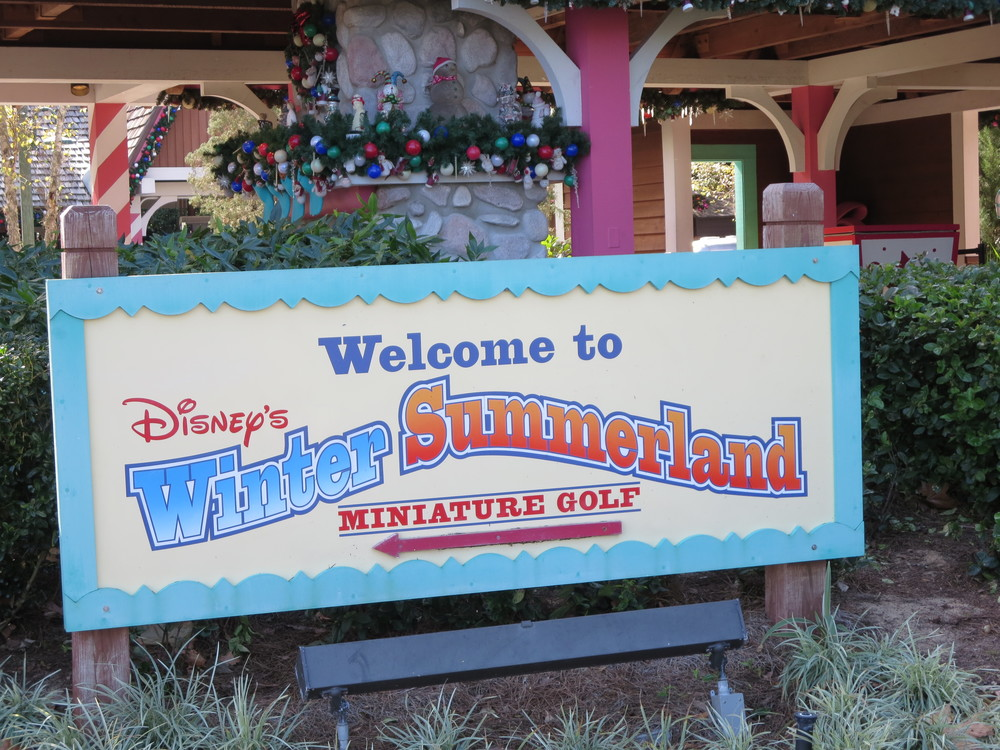Information about  Winter Summerland , Disney World's Christmas themed miniature golf course.  See: http://www.buildabettermousetrip.com/visiting-disney-world/2015/12/5/do-you-know-that-disney-world-has-a-christmas-themed-mini-golf-course