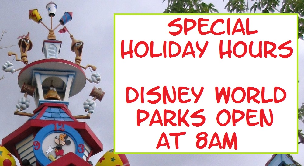 Disney World will open its theme parks early on select days during the 2015 holidays. For a full schedule, see: http://www.buildabettermousetrip.com/visiting-disney-world/2015/12/5/disney-world-theme-parks-open-early-for-christmas
