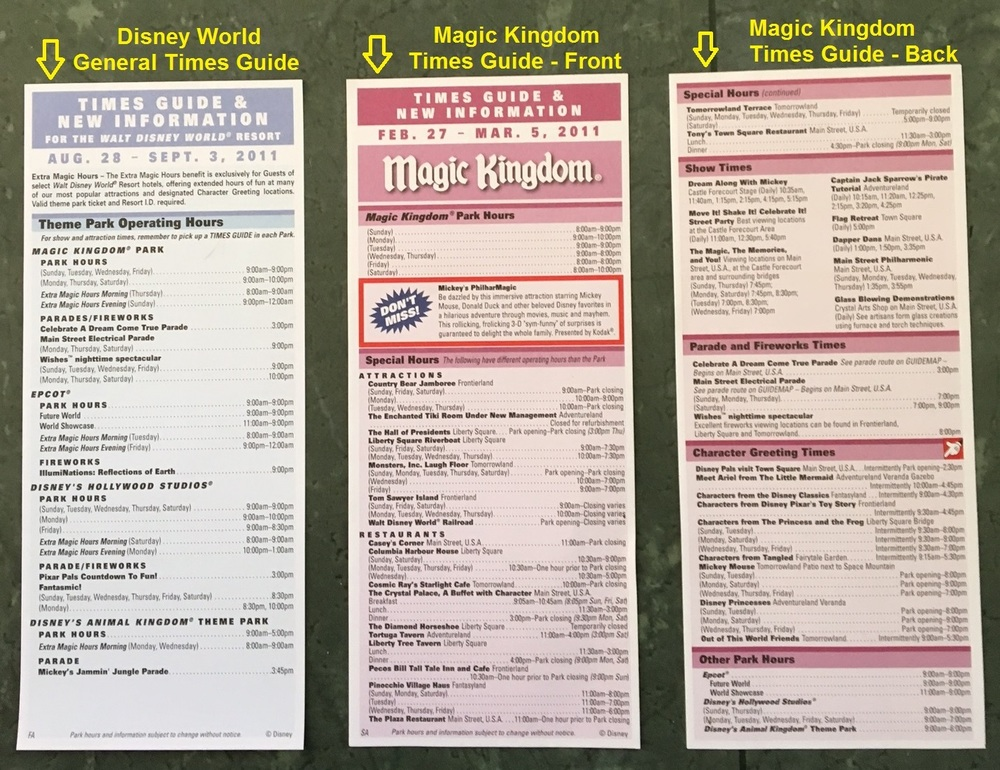 All about the Disney World Times Guides - a handy tool to help you keep track of all the events and experiences available during your Disney vacation.