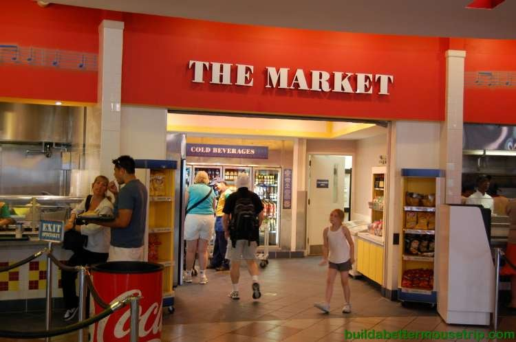 The Market area of the Intermission Food Court at Disney's All-Star Music Resort - Milk, beverages, sandwiches, pastries, salads, fruit and other grab-and-go items.
