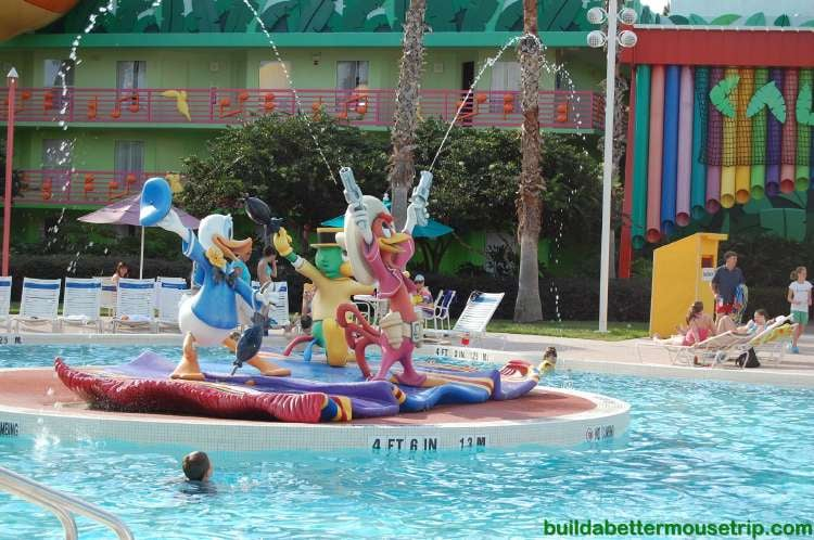 The Three Caballeros water feature at the Calypso Pool at Disney's All-Star Music Resort