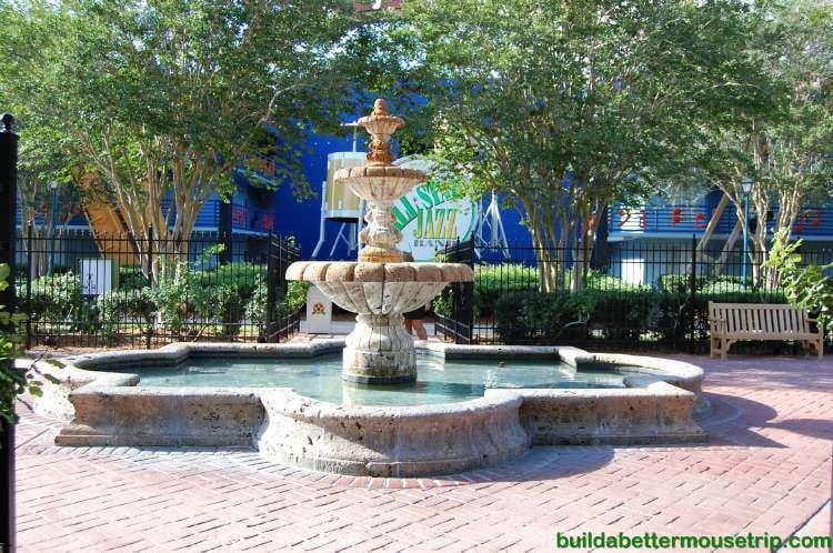 Water fountain in the courtyard of the Jazz buildings at Disney's All-Star Music Resort