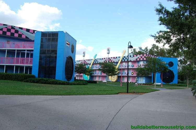 Rock Inn buildings at Disney's All-Star Music Resort - a value hotel at the Walt Disney World Resort in Florida.
