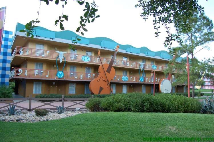 Country music themed buildings at Disney's All-Star Music Resort