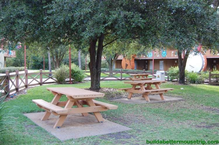 Picnic tables in the Country Fair area of Disney's All-Star Music Resort