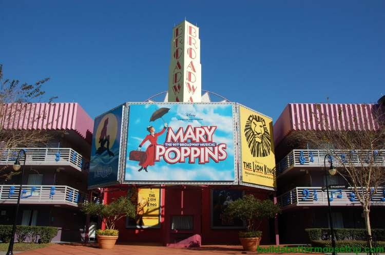 Mary Poppins marquee in the Broadway section at Disney's All-Star Music Resort