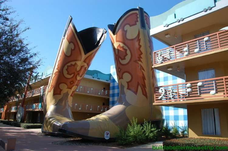 Giant cowboy boots in the Country Inn area of Disney's All-Star Music Resort
