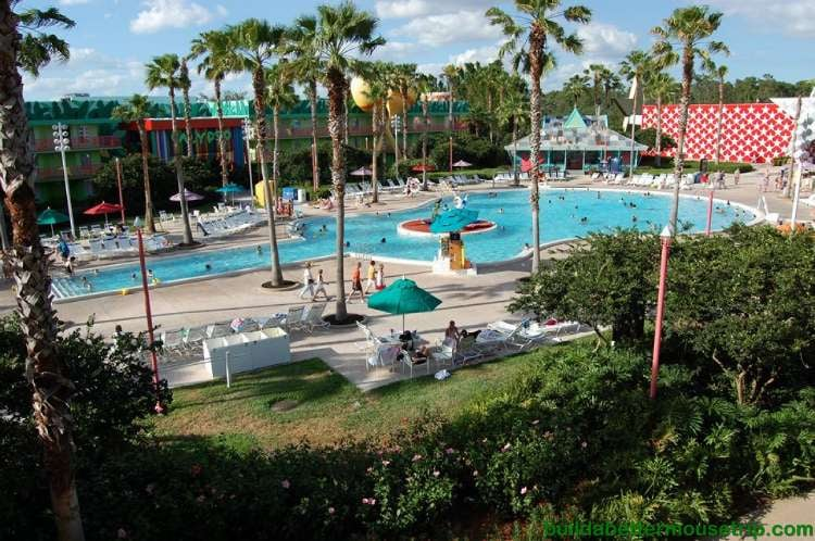 Guitar shaped Calypso pool at Disney's All-Star Music Resort