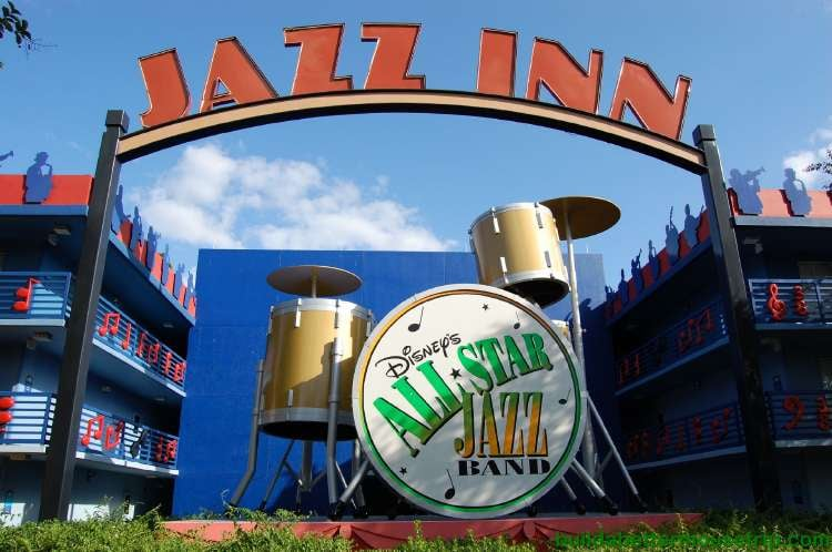 Giant drum set in the Jazz Inn section of Disney's All-Star Music Resort