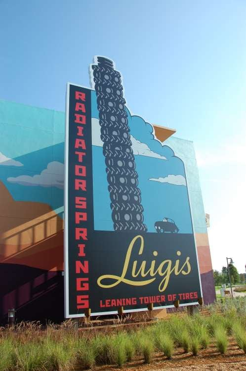 Art-of-Animation-572-Luigi-Leaning-Tower-of-Tires-sign-at-the-Art-of-Animation-Resort.JPG