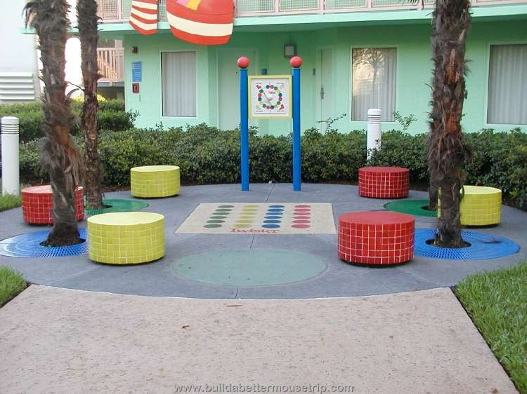 Twister game in the courtyard of the 70s buildings at Disney's Pop Century Resort