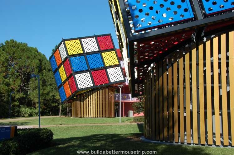 Rubix cube stairwell on one of the buildings at Disney's Pop Century Resort hotel