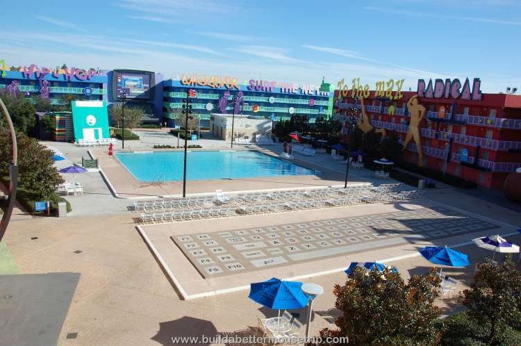Computer pool courtyard at Disney's Pop Century Resort
