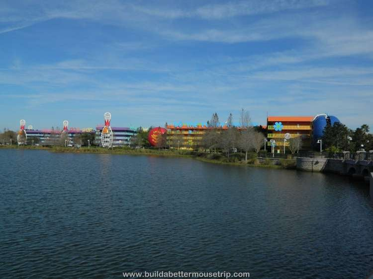 A lakeside view of Disney's Pop Century / Walt Disney World Resort - Florida