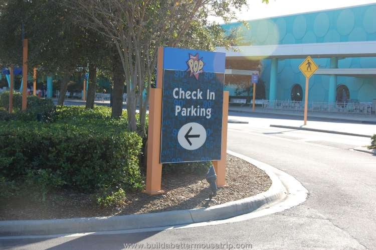 Check-in parking area at Disney's Pop Century Resort